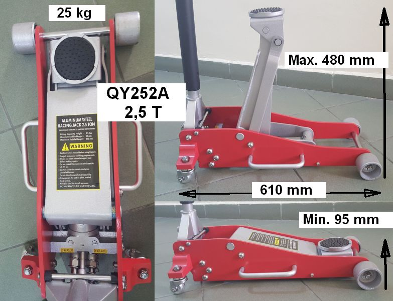 Cric hidraulic structura mixta aluminiu-otel